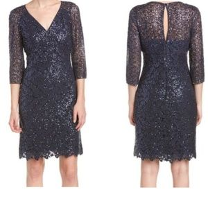 Kay Unger Women's Blue Sequined Mesh Sheath Dress